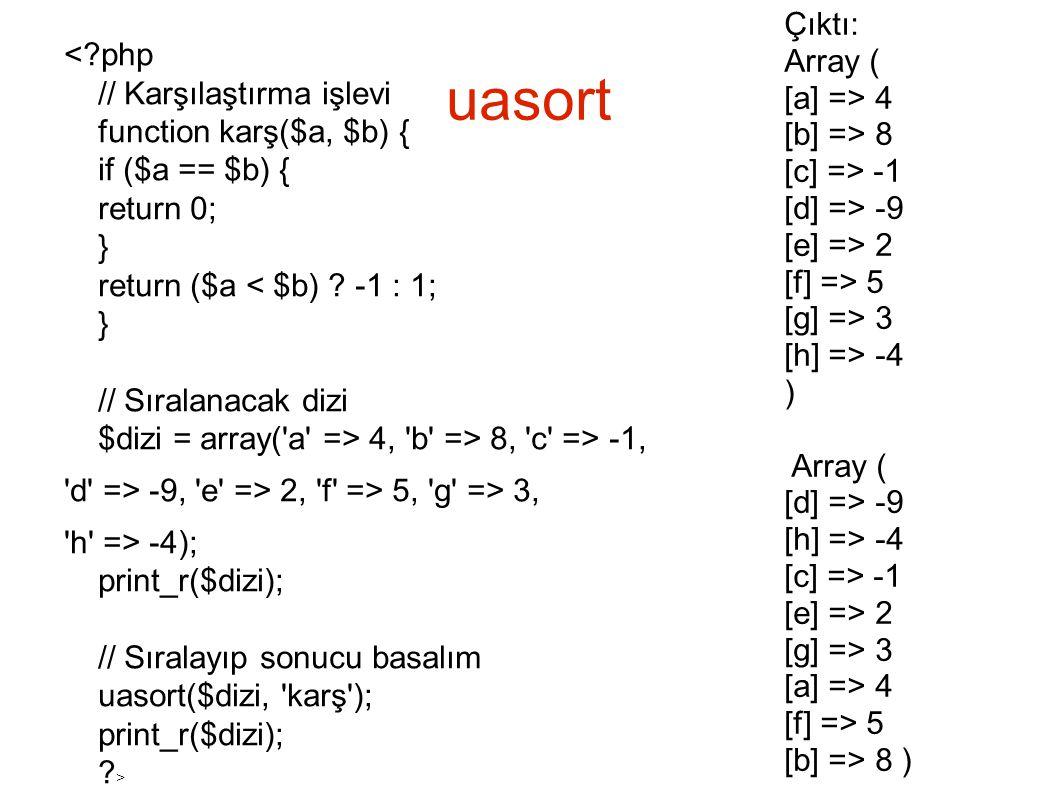 Çıktı: Array ( [a] => 4. [b] => 8. [c] => -1. [d] => -9. [e] => 2. [f] => 5. [g] => 3. [h] => -4.